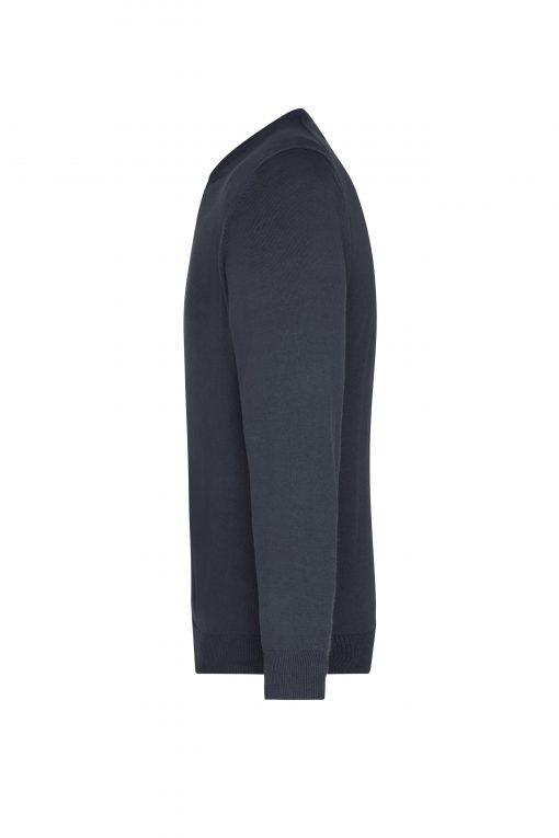 Мъжки пуловер с V-образно деколте - цвят Черен