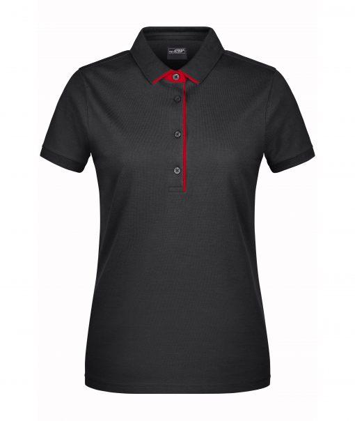 Дамска тениска с яка Single Stripe - цвят Черно/Червено