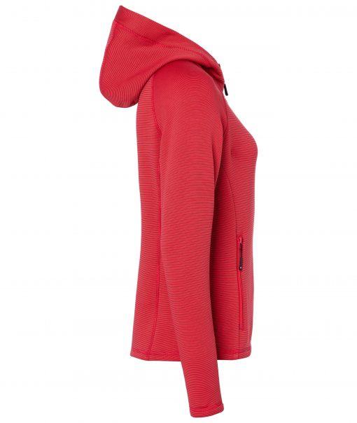 Дамско поларено горнище с качулка - цвят Червен/Индиго