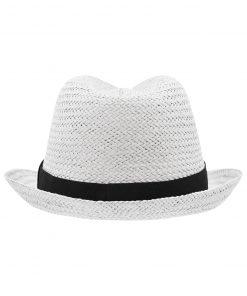 Лятна шапка Бомбе - цвят Бял/Черен