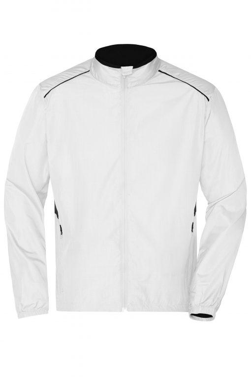 Мъжко яке за бягане - цвят Бял/Черен