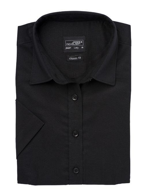 Дамска риза с къс ръкав Oxford - цвят Черен