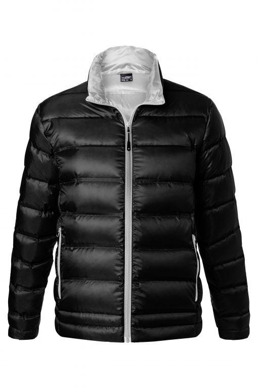 Мъжко пухено яке без качулка - цвят Черно/Сребро