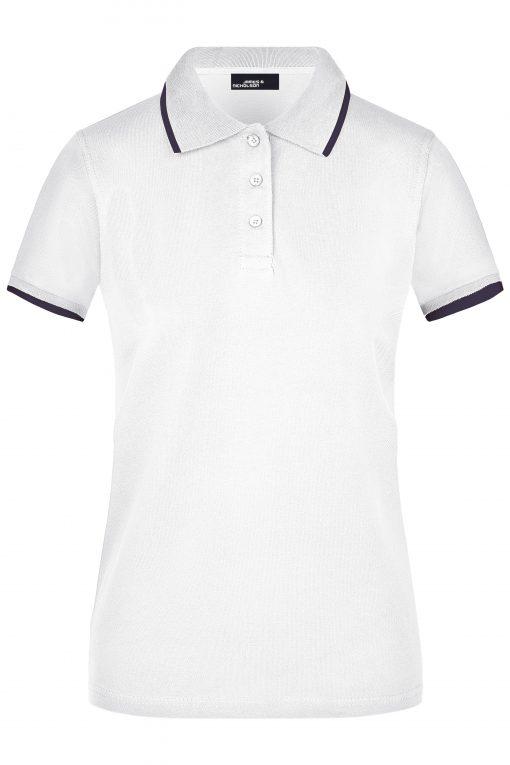 Дамска тениска с яка Pique - цвят Бял/Морско Син