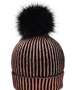 Дамска зимна шапка  - цвят Бронз / Черен