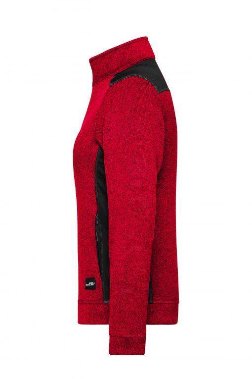 Дамски полар с цял цип - цвят Червен Меланж/Черен