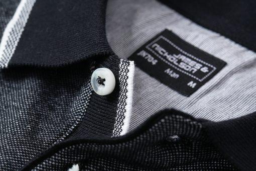 Мъжка тениска с яка Bicolor Polo - цвят Морско Син/Бял