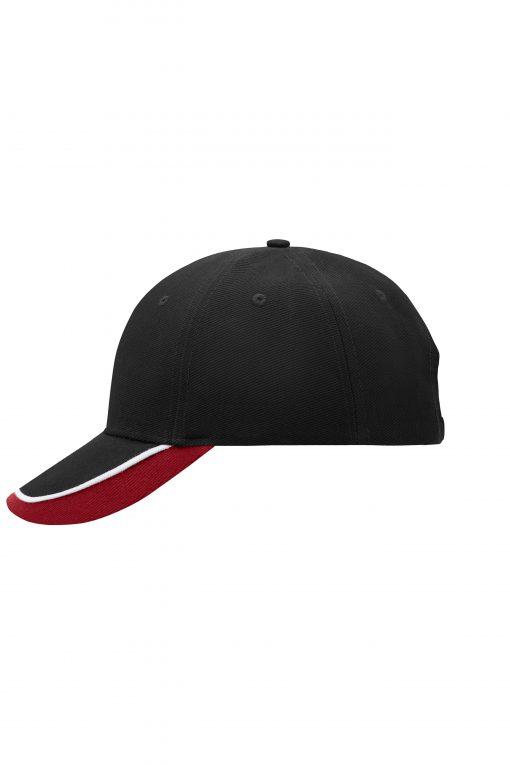 Шапка с козирка - цвят Черно / Бяло / Червено