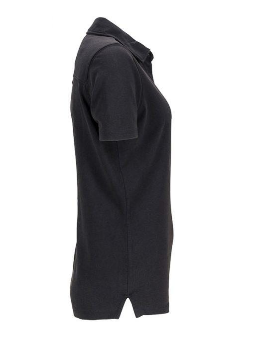 Вталена дамска тениска с яка - цвят Черно/Бяло-Титан