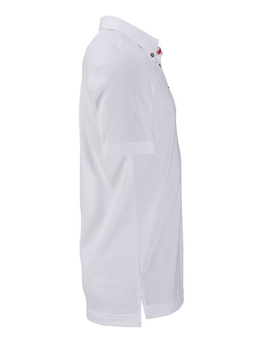 Мъжка тениска с яка - цвят Бяло/Червено-Бяло