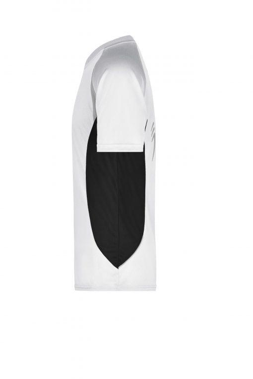 Мъжка тениска за бягане - цвят Бял/Черен