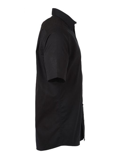 Мъжка риза с къс ръкав Oxford - цвят Черен