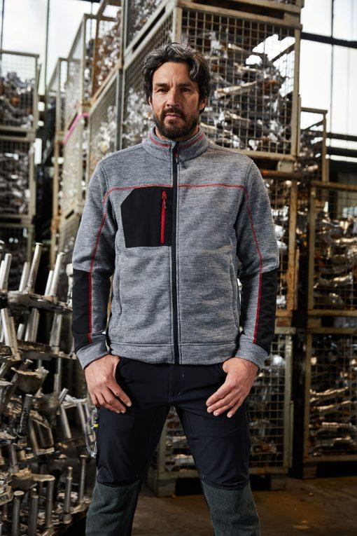Мъжко поларено яке - цвят Черно-Меланж/Черно/Сребро
