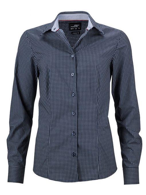 Дамска риза с дълъг ръкав - цвят Морско Син/Бял