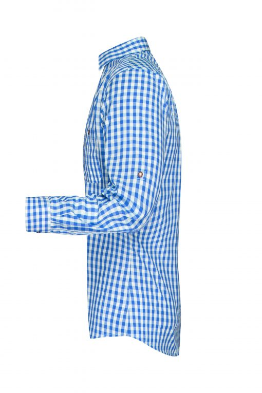 Мъжка карирана риза - цвят Кралско/Бяло