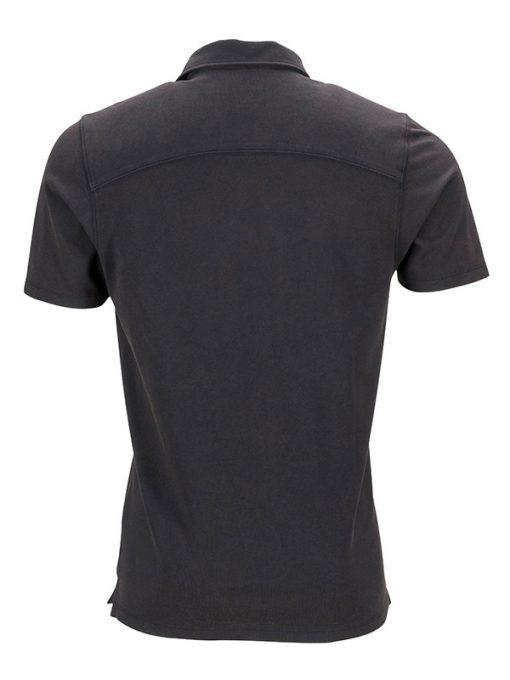 Мъжка износена тениска с яка - цвят Черно/Бяло-Титан