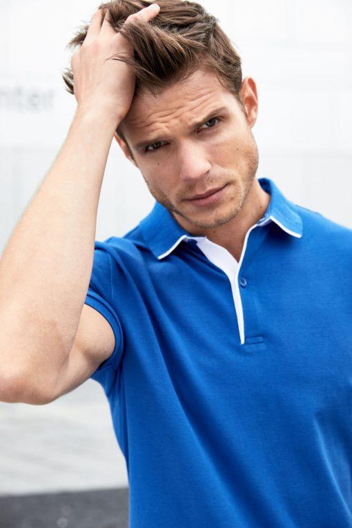 Мъжка тениска с яка Single Stripe - цвят Черно/Червено