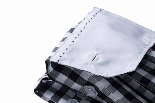 Карирана дамска риза с дълъг ръкав - цвят Кралско/Бяло