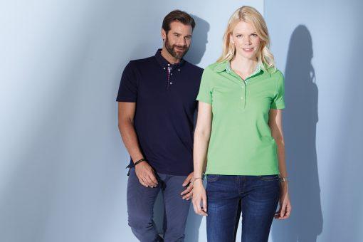 Дамска тениска с яка Karo - цвят Тъмнооранжево/Синьо-Оранжево-Бяло