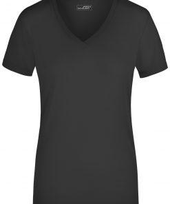 Дамска тениска V-neck - цвят Черен