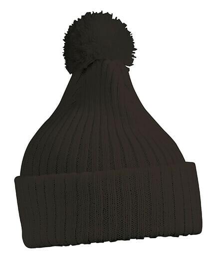 Зимна шапка с помпон - цвят Черен