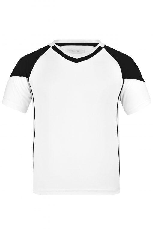 Детска тениска за футбол - цвят Бял/Черен