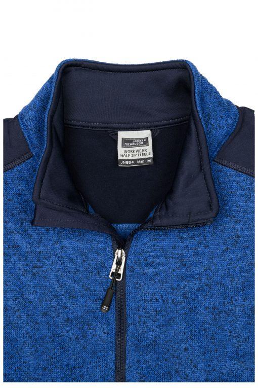 Мъжка блуза от плетен полиестер - цвят Червен Меланж/Черен