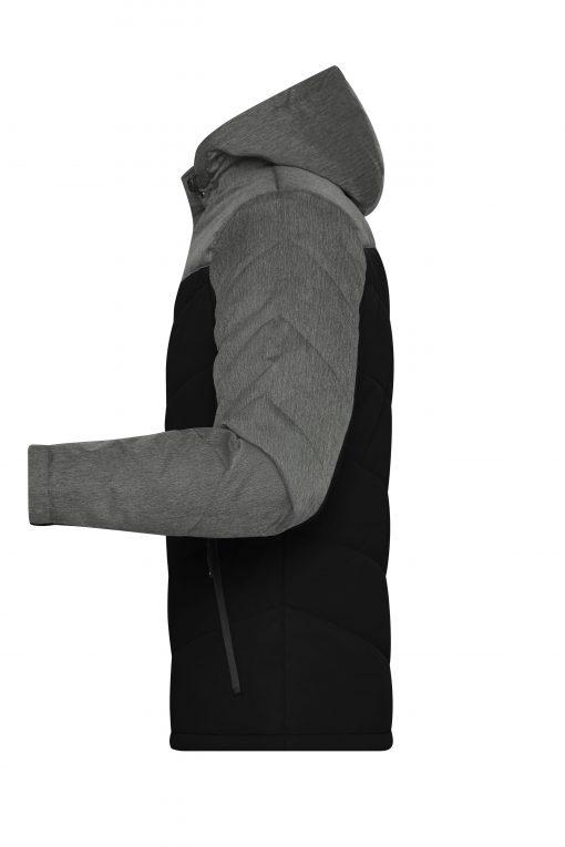 Мъжко зимно яке MaterialMix - цвят Черен/Антрацит-Меланж