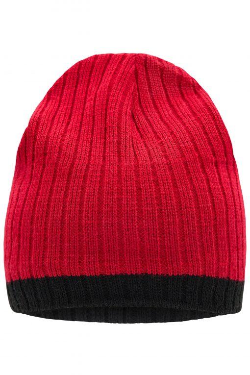 Плетена шапка RIPP с контрастни ленти - цвят Червено/Черно