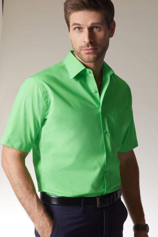 Мъжка риза с къс ръкав и покритие Easy Care - цвят Черен