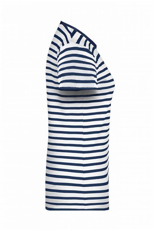 Дамска тениска на райета - цвят Бял/Морско Син