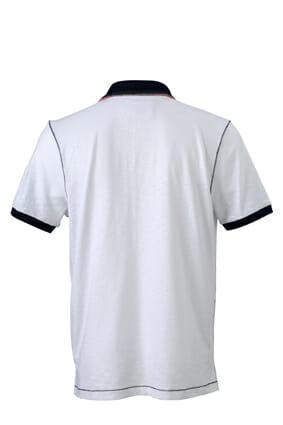 Мъжка поло тениска Slub - цвят Бял/Морско Син
