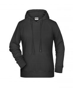 Дамски суичър с качулка - цвят Черен