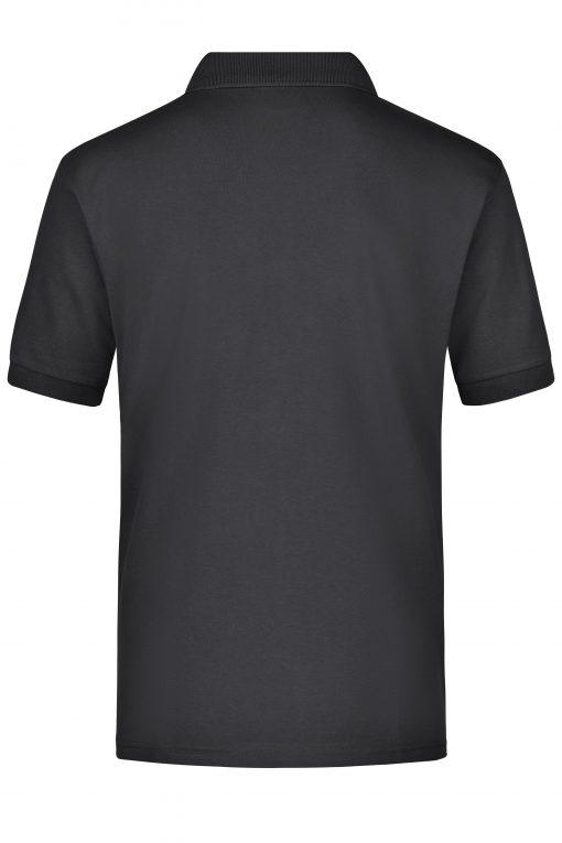 Мъжка тениска с яка и джоб - цвят Черен