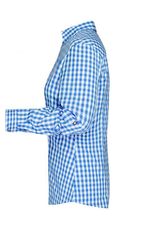 Дамска карирана риза - цвят Кралско/Бяло