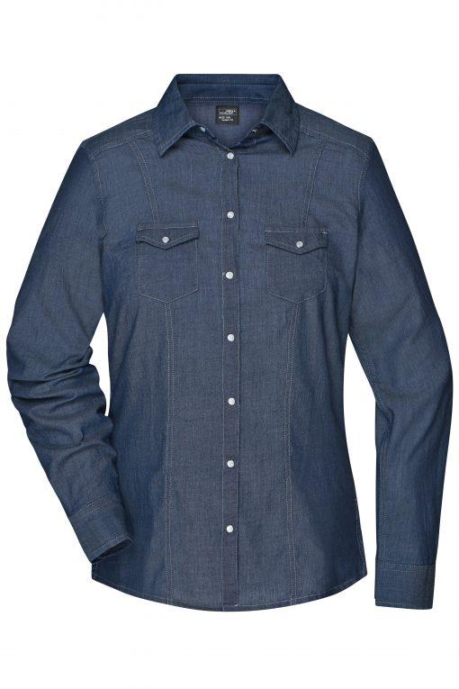 Дамска дънкова риза - цвят Тъмно-Деним