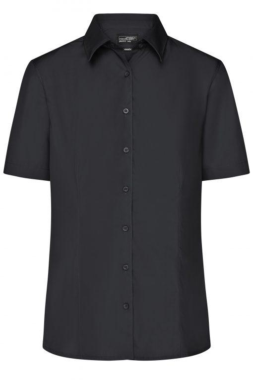 Дамска риза с къс ръкав и покритие Easy Care - цвят Черен