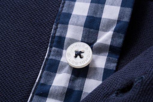Мъжка тениска с яка Karo - цвят Тъмнооранжево/Синьо-Оранжево-Бяло