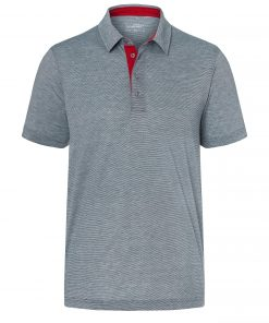 Мъжка спортна тениска с яка - цвят Морско Син/Бял