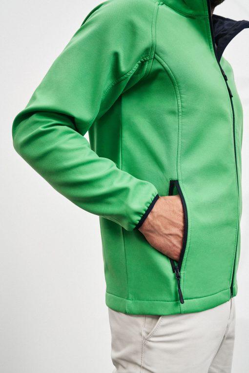 Мъжко софтшел яке - цвят Зелен/Морско Синьо