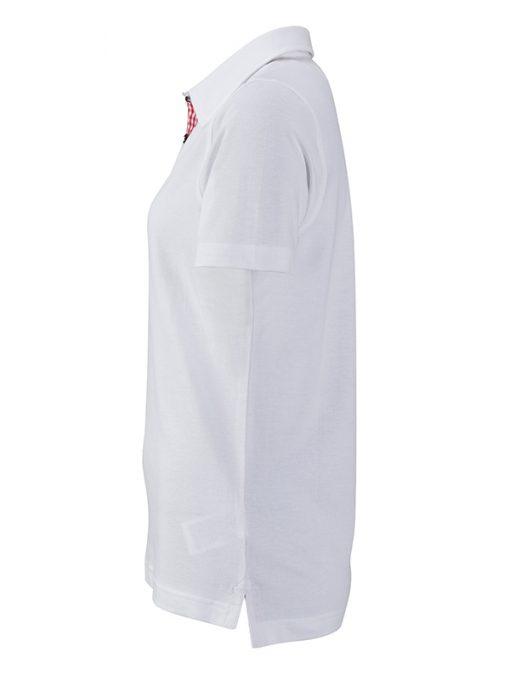 Дамска тениска с яка  - цвят Бяло/Червено-Бяло