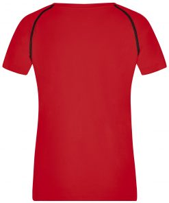 Дамска тениска за фитнес - цвят Червено/Черно