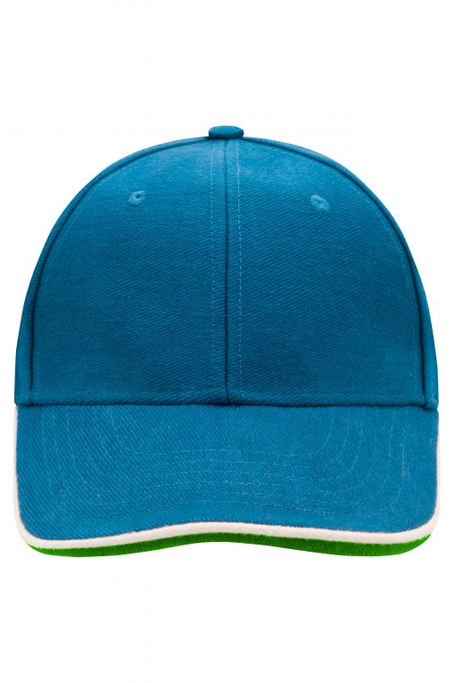 Шапка с козирка - цвят Azur / Бяло / Зелено