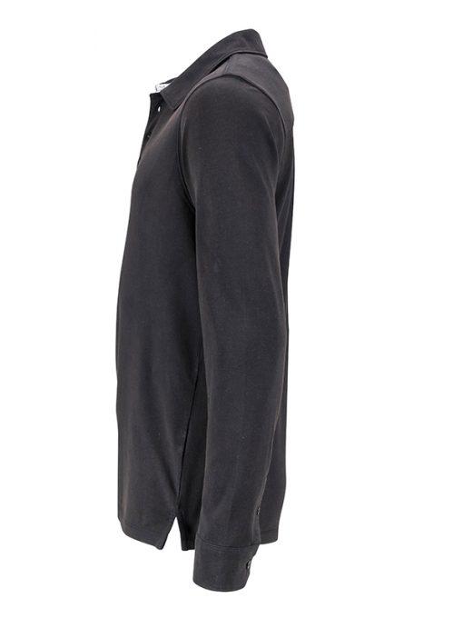 Мъжко поло с износен вид - цвят Черно/Бяло-Титан