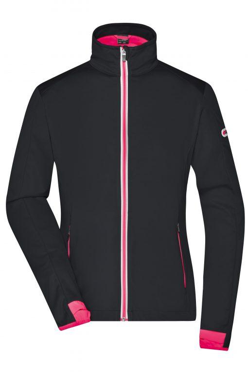 Дамско спортно софтшел яке - цвят Черно/Светлочервено