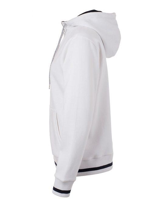 Дамски суичър с качулка - цвят Бял/Морско Син