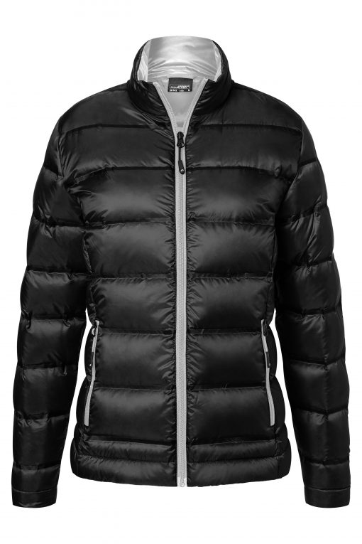 Дамско пухено яке без качулка - цвят Черно/Сребро