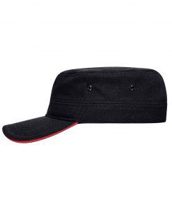 Военна шапка с козирка - цвят Черно/Червено