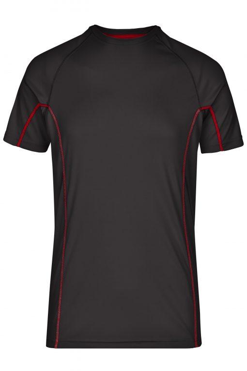 Мъжка тениска за бягане - цвят Черно/Червено