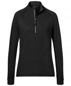 Дамска спортна блуза с полуцип - цвят Черен